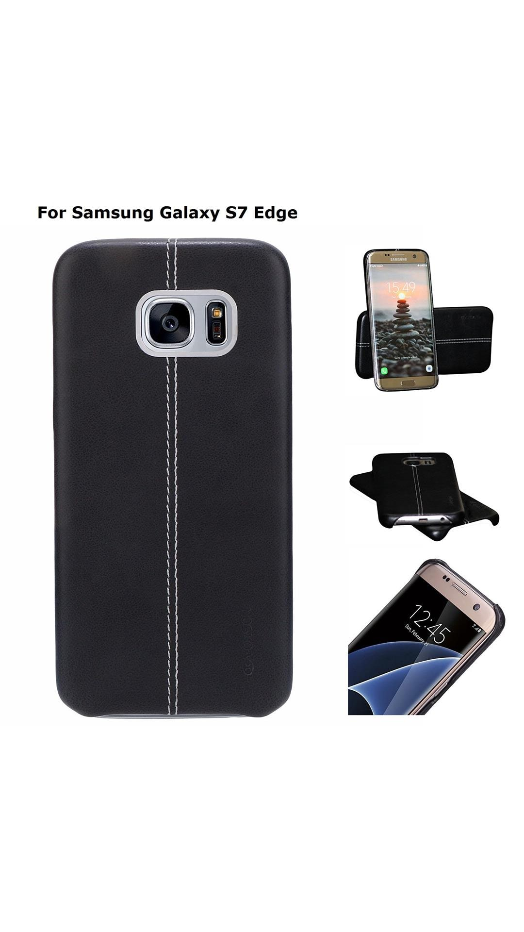 Buy TGK Premium Luxury Leather Lexza Series Double Stitch Shell with  Metallic Logo Display Vorson Back Cover Case for Samsung Galaxy S7 Edge  (Black) Online ... de3f5fb958c2