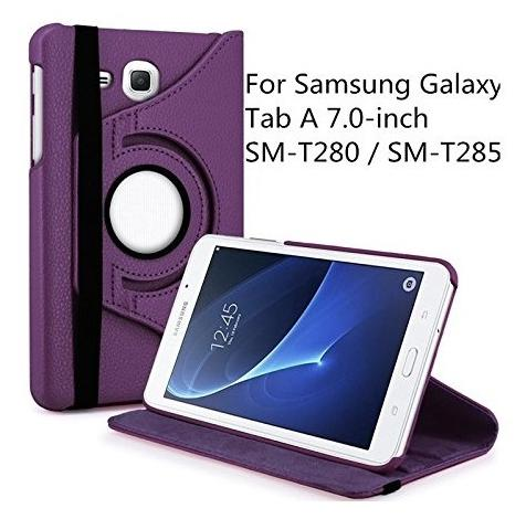 TGK 360 Degree Rotating Leather Smart Rotary Swivel Stand Case Cover for Samsung Galaxy TAB A 7.0 inch SM  T280, T285/Tab J Max 7 inch  Purple
