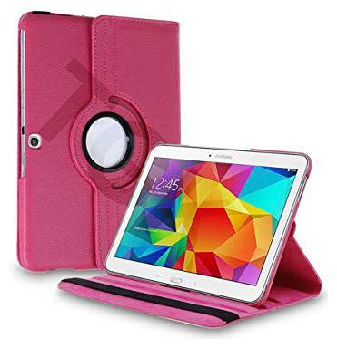 TGK 360 Degree Rotating Leather Smart Rotary Swivel Stand Case Cover for Samsung Galaxy Tab 4  10.1 inch  SM T530, T531, T535  Pink