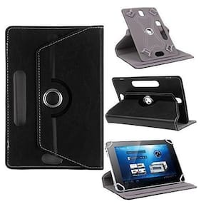 TGK 360 Degree Rotating Leather Rotary Swivel Stand Case Cover for HP Pro Slate 10 EE 10.1 / Chuwi Hi10 Tablet 10.1 Inch (Black)
