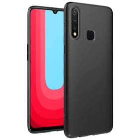AESTMO Ultra Slim Flexible Shockproof with Camera Protecting Bump Edge to Edge 360 Degree Protection Matte Soft Back Case Cover for Vivo U20 / Y19 (Pitch Black)