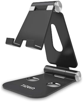 Tizum Anodized Aluminum Portable Stand for All Smartphones, iPhone X/8 Plus, Note 8, iPad, Tab & Kindle (Anti Slip Base|Black|Fits 4-10 inch Devices)
