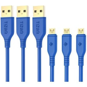 Tizum Micro USB Cable Gold Plated - High Speed  Quick Charge 2.4 Amp & Data Sync - Pack of 3 (1.2M/ 4Ft- Blue)