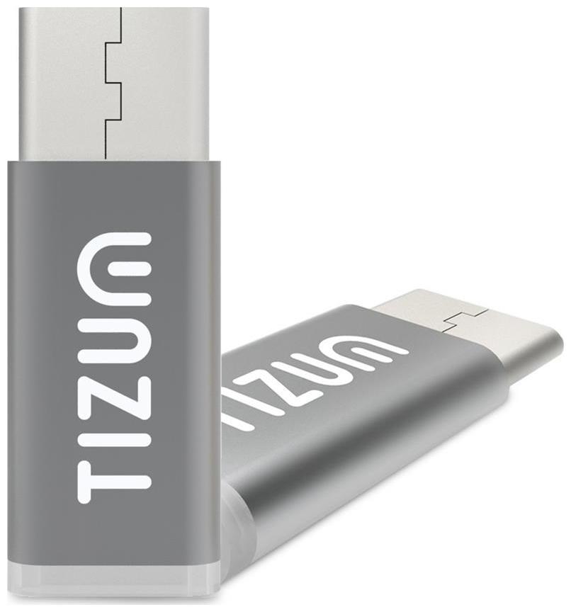 TIZUM Micro USB to USB C Adapter Works with MacBook, ChromeBook Pixel, Nexus 5X, Nexus 6P, Nokia N1, OnePlus 2 and More  Grey  by I Stuff 365