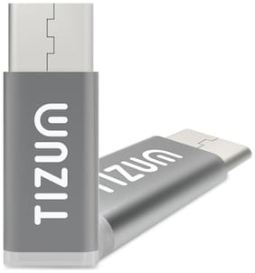 TIZUM Micro USB to USB-C Adapter Works with MacBook, ChromeBook Pixel, Nexus 5X, Nexus 6P, Nokia N1, OnePlus 2 and More (Grey)