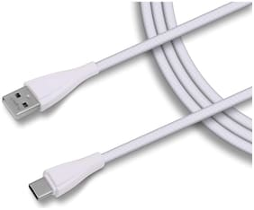 PLUGTECH Data & Charging Type-C Cable ( 1 m , White )