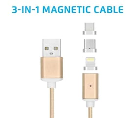 TSV 3 in 1 360 Degrees Rotating Circular Magnet Wire Lighting|Micro USB|Type-C for All Smart Phones DM-M12