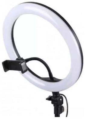 TSV 3 Lights Color Adjustable LED Selfie Ring Light with Collar mic  Stand and Cell Phone Holder for Video and Photography
