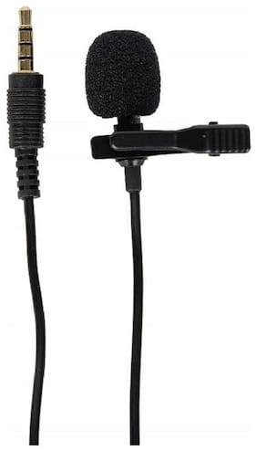 TSV Black Mini Lavalier Lapel Mic Microphone for Voice Chat, Video Conferencing & Recording
