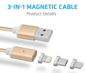 TSV DM-M12 3 in 1 Magnetic Glowing Cable Lighting, Micro USB, Type-C Cable for iPhone 7 | Samsung Galaxy J7 Prime|Honor| Motorola