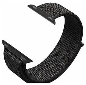 TSV Nylon Loop Band Strap for i-Watch 42mm/44mm Series Smart Watch Strap  (Black)