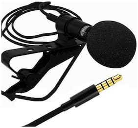TSV  Portable Microphone 3.5mm Jack Clip on Lapel Collar Mini Lavalier Microphone Mic for iPhone Mobile Phone Black