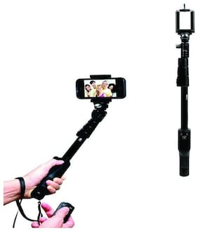 TSV YT 1288 Aluminium Alloy Extendable Selfie Stick with Bluetooth Remote Shutter Black