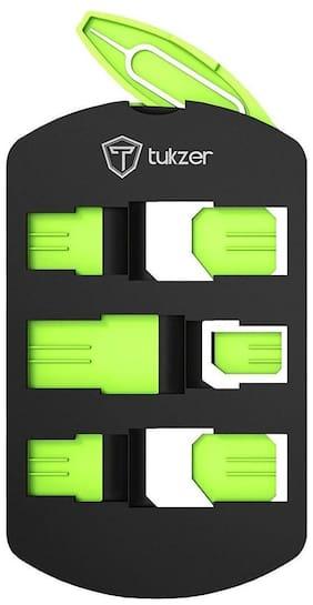 Tukzer Universal SIM Card Adapter Kit With Nano, Micro Convertor & SIM Tray Opener (Black-Green)