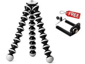 TZS Premium Gorilla Flexible Tripod For Smart Mobile Phones, DSLRs,Action Cameras, Digicams With FREE Universal Mobile Attachment, Holds Upto 3 Kgs Equipments Weight