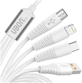 UBON WR 147 HI QUALITY AND FAST CHARGING SMART LOOK 3 IN 1 DATA CABLE