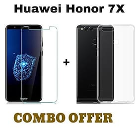 Honor 7x Combo  Transparent silicon back cover + TEMPERED GLASS  for Honor 7x