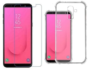 samsung j8 Combo  Transparent silicon back cover + TEMPERED GLASS for  samsungj8