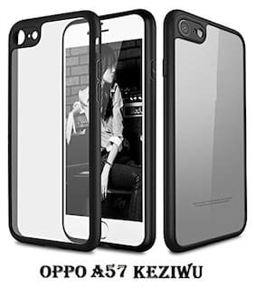Oppo A57 360 Degree Keziwu Back Cover With Silicone Protective Cover Shell With Soft Bumper Cushion Case For A57 (Black)