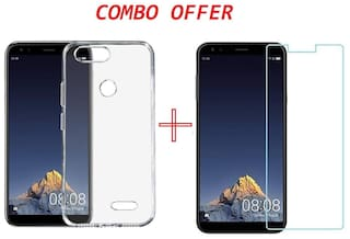 infocus vision 3 Combo  Transparent silicon back cover + TEMPERED GLASS for infocus vision 3