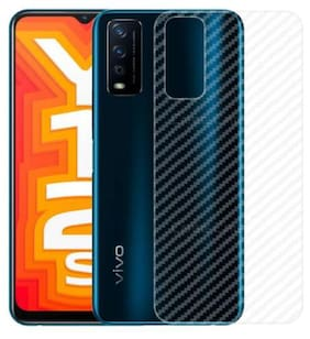 Ultra Thin Clear Transparent 3D Carbon Fiber Back Screen Guard Protector for Vivo Y12s (2020)