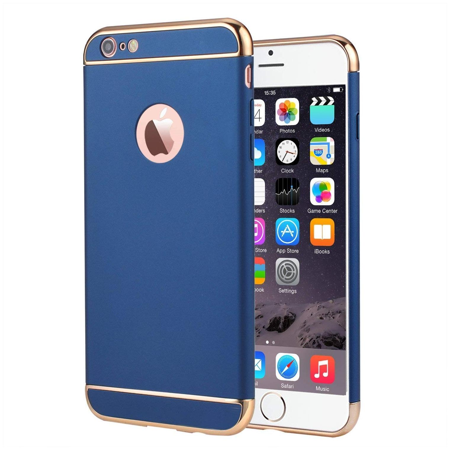 Ultra Thin Shock Proof 3 in 1 Back Case Cover for Apple iPhone 7  iPhone 8  Blue with Gold    Hard Plastic Dual Layer 3 Part Case by Exotic Flourish