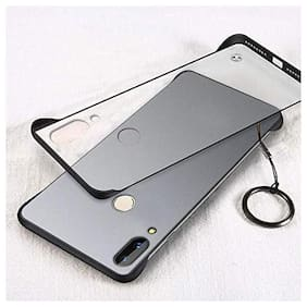 Ultra Thin Shockproof Frameless Matte Transparent with Finger Holding Ring Buckle Back Cover Case Compatible for Redmi Note 7 / Redmi Note 7 Pro (Black)