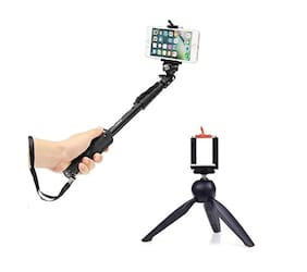 Uniq Selfie Monopod Stick with Bluetooth Remote Controller with 228 Mini Mobile Tripod with 360° Rotating Ball Head with Mobile Clip Compatible with All Android & iOS Device