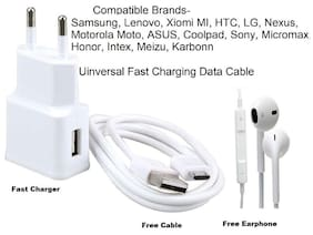 Universal COMPATIBLE Combo of Wired Headphone/Earphone (white) with charger and data cable for all Smartphones by Sami