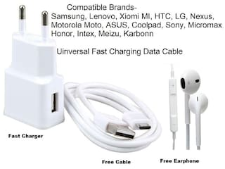 Universal Fast Charger with Free Fast DATA Cable & Free Earphones All Combo Pack 3 in 1 BY Sami