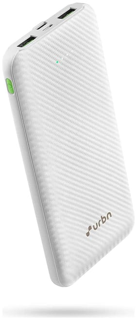 URBN 10000 mAh 18W Super Fast Charging Power Bank with 18W Type C PD (Input& Output) and QC 3.0 Dual USB Output with Free Type C Cable (White)