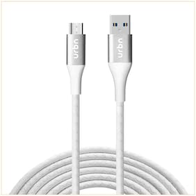 URBN Micro USB 3 Amp Fast Charging Data and Sync Cable Extra Tough Quick Charge 18W Compatible (4 Feet) 1.2M - White