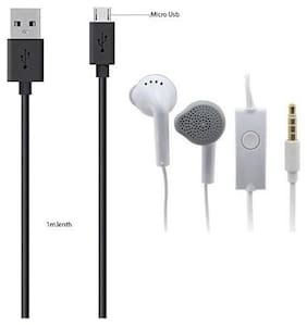 USB Data cable black  high speed with Free YR earphone/headphone (combo pack of 2)