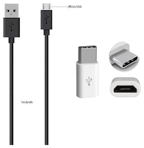 USB Data cable black For charging/transferring Data with Free Type C (3.1) Adapter Connector All Android Smartphones( combo set)