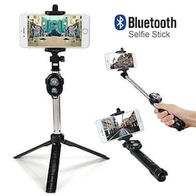 Branded  Wireless Bluetooth Selfie Stick with Bluetooth Remote Shooter Mono-pod Extendable & Tripod Feature for Apple iPhone (iOS)/Android Smartphones (Color May Vary)