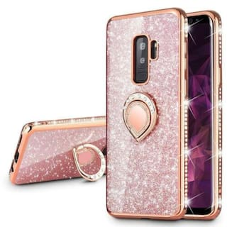 VEGO Galaxy S9+ Plus(NOT S9) Glitter Case with Ring Holder Kickstand Rosegold