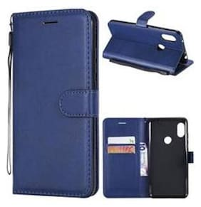 VESSHIC Leather Flip Cover For Samsung Galaxy M30s ( Blue )