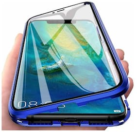 Vivo S1 Case Magnetic Metal Frame Tempered Glass Hard Back Cover with Built-in Magnets Bumper  (Blue)