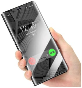 Vivo S1 MIRROR Flip Cover for Clear View Electroplating Luxurious Looking  (Black, Cases with Holder)