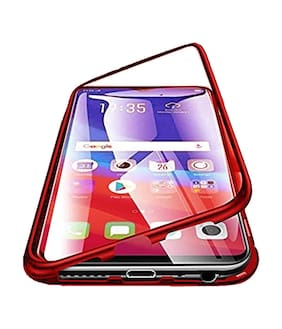 Vivo V11 Pro Case, Magnetic Adsorption Case Metal Frame Tempered Glass Back with Built-in Magnet Cover [Support Wireless Charging] for Vivo V11 Pro (Red)