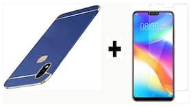 Vivo V9{Combo Offer} Full Body 3 in 1 Slim 3D 360 Degree Protection Case Cover (Blue/Gold) +  Nano Glass Unbreakable Screen Protector For Vivo V9 By Praksh
