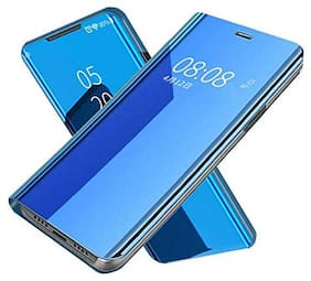 Vivo Y17 Luxury Mirror Series Clear View Flip Stand Leather Back Case Cover with Electroplate [Anti-Scratch] Full Body Protective Metal Plating Stand Case Cover for Vivo Y17- Blue (MIRROR FLIP CASE)
