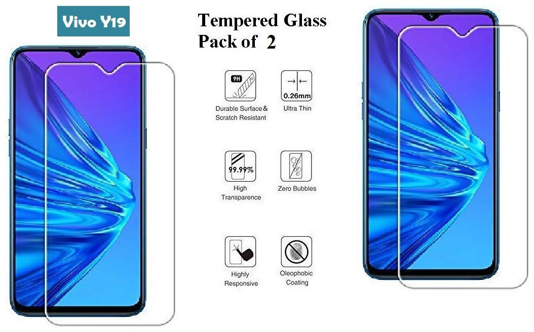 Vivo Y19 Tempered Glass (Pack of 2)