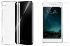 Vivo Y55s transparnet back cover with tempered glass