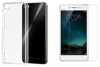 big sale 75181 359dd Vivo Y55s transparnet back cover with tempered glass