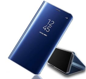 Vivo Y83 Pro Mirror Flip Stand Case ,Luxury Smart Slim Fit Clear View Window Electroplate Plating 360 Full Body Protective Cover with Screen Protector for  Vivo Y83 Pro Blue