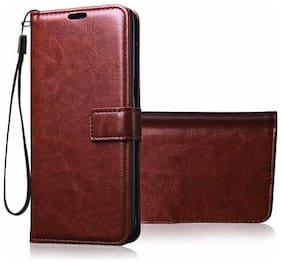 CREATIVO Leather Flip Cover For Vivo Z1 Pro ( Brown )