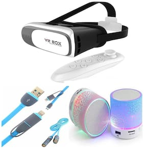 VR BOX WITH 2 IN DATA CUM CHARGING CABLE FOR APPLE & ANDROID WITH BLUETOOTH SPEAKER ALL IN ONE USEFULL COMBO