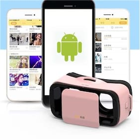 VR Mini Box Virtual Reality 3D Glasses Head For Smartphone Android iOS Pink AD