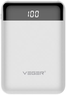 VEGER W1049 10000 mAh Power Bank - White